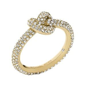 Michale Kors brilliant Crystal Knot gold ring SZ6